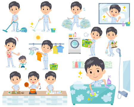 A set of chiropractor man related to housekeeping such as cleaning and laundry.There are various actions such as cooking and child rearing.Its vector art so its easy to edit.  イラスト・ベクター素材