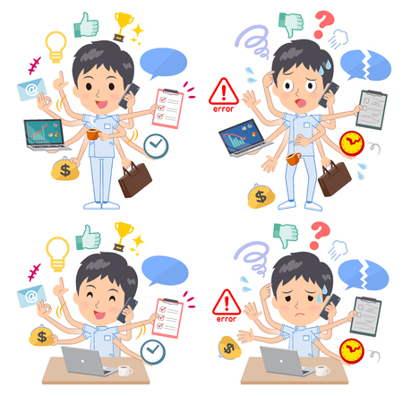 A set of chiropractor man who perform multitasking in the office.There are things to do smoothly and a pattern that is in a panic.Its vector art so its easy to edit.