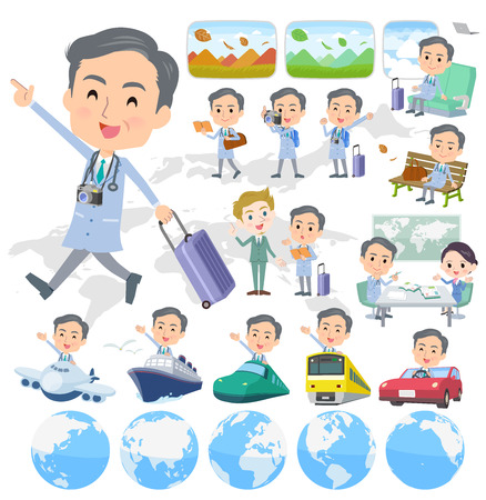 A set of doctor man on travel.There are also vehicles such as boats and airplanes.Its vector art so its easy to edit.