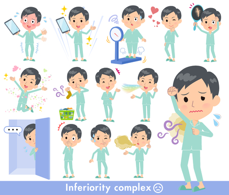 A set of patient young man on inferiority complex.There are actions suffering from smell and appearance.It's vector art so it's easy to edit.