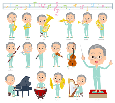 A set of patient old man on classical music performances.There are actions to play various instruments such as string instruments and wind instruments.Its vector art so its easy to edit.