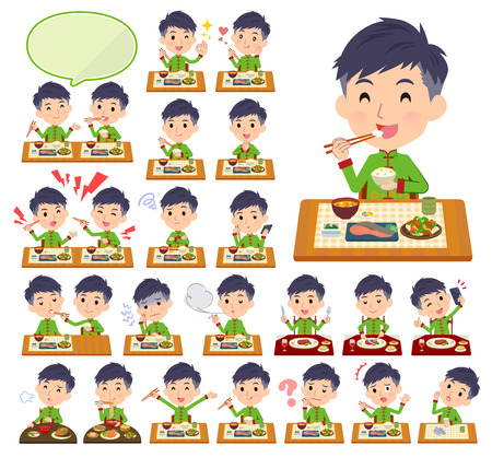 A set of Chinese men about meals.Japanese and Chinese cuisine, Western style dishes and so on.Its vector art so its easy to edit.
