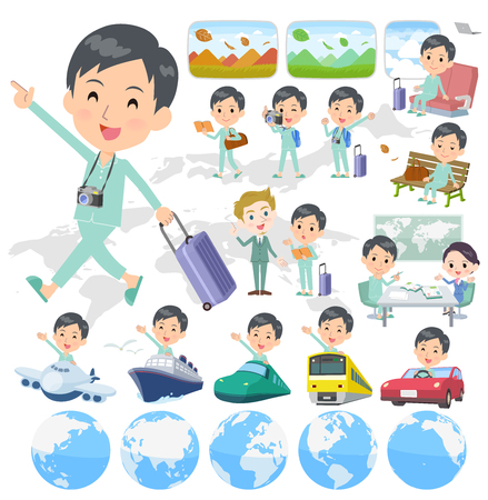 A set of patient young man on travel.There are also vehicles such as boats and airplanes.Its vector art so its easy to edit.