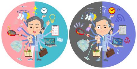 Eine Reihe von Ärzten, die in Büros und privat Multitasking durchführen. Es gibt Dinge, die reibungslos erledigt werden müssen, und ein Muster, das in Panik gerät. Es handelt sich um Vektorgrafiken, die leicht zu bearbeiten sind.