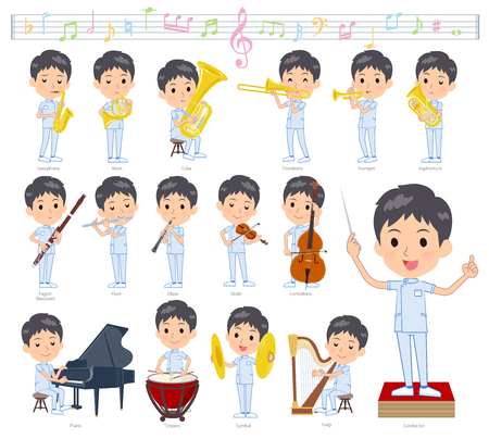 A set of chiropractor man on classical music performances.There are actions to play various instruments such as string instruments and wind instruments.Its vector art so its easy to edit.  イラスト・ベクター素材