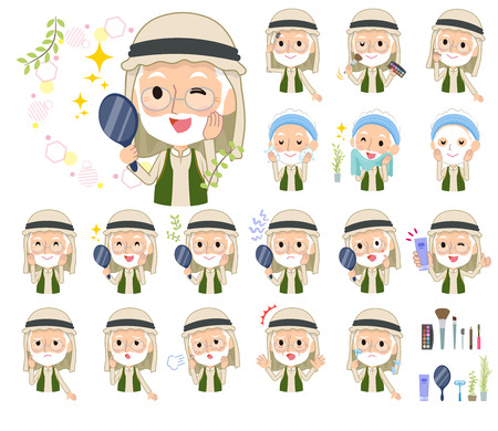 A set of Arabian old men on beauty.There are various actions such as skin care and makeup.It's vector art so it's easy to edit.