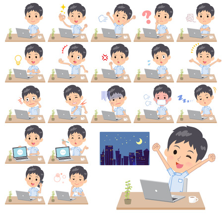 A set of chiropractor man on desk work.There are various actions such as feelings and fatigue.Its vector art so its easy to edit.  イラスト・ベクター素材