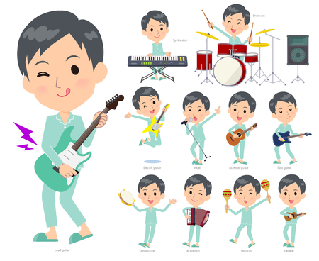 A set of patient young man playing rock 'n' roll and pop music.There are also various instruments such as ukulele and tambourine.It's vector art so it's easy to edit. Illustration