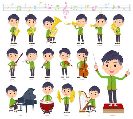 Zestaw chińskich mężczyzn na występach muzyki klasycznej. Istnieją akcje umożliwiające grę na różnych instrumentach, takich jak instrumenty smyczkowe i instrumenty dęte. To grafika wektorowa, dzięki czemu można ją łatwo edytować. Ilustracje wektorowe