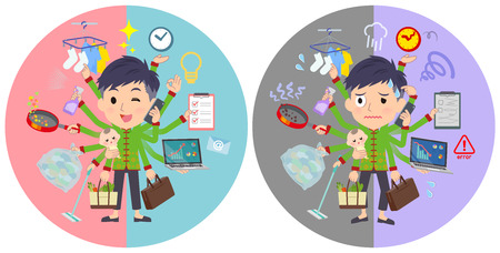 A set of Chinese men who perform multitasking in offices and private.There are things to do smoothly and a pattern that is in a panic.Its vector art so its easy to edit.