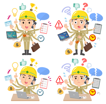 A set of working man who perform multitasking in the office.There are things to do smoothly and a pattern that is in a panic.It's vector art so it's easy to edit.