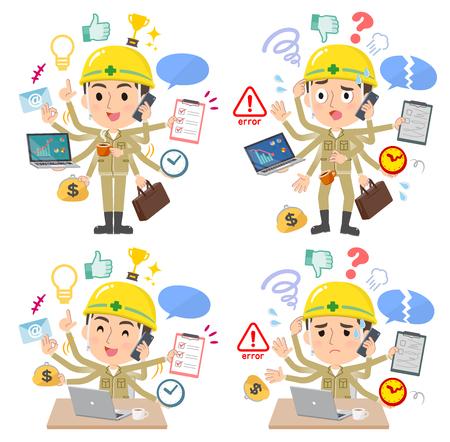 Eine Reihe von Arbeitern, die im Büro Multitasking ausführen. Es gibt Dinge, die reibungslos erledigt werden müssen, und ein Muster, das in Panik gerät. Es handelt sich um Vektorgrafiken, die leicht zu bearbeiten sind.