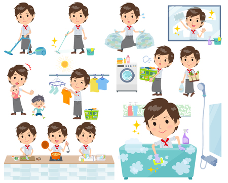 A set of Chef men related to housekeeping such as cleaning and laundry.There are various actions such as cooking and child rearing.It's vector art so it's easy to edit.