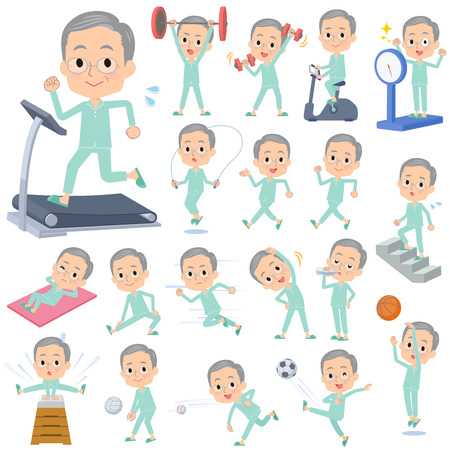 A set of patient old man on exercise and sports.There are various actions to move the body healthy.It's vector art so it's easy to edit.