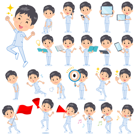 A set of chiropractor man with digital equipment such as smartphones.There are actions that express emotions.Its vector art so its easy to edit. Illustration