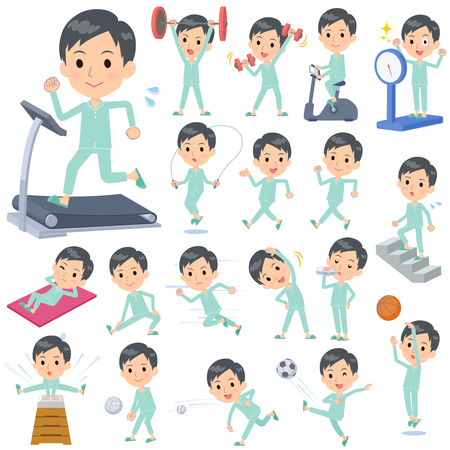 A set of patient young man on exercise and sports.There are various actions to move the body healthy.It's vector art so it's easy to edit. Ilustração