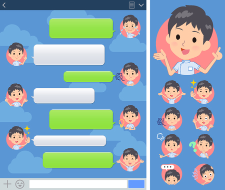 A set of chiropractor man with expresses various emotions on the SNS screen.There are variations of emotions such as joy and sadness.It's vector art so it's easy to edit.