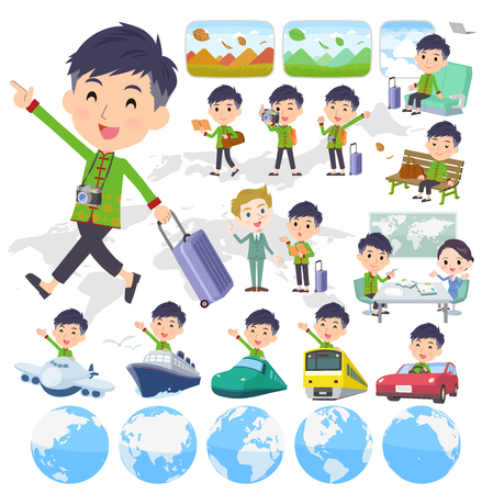 A set of Chinese men on travel.There are also vehicles such as boats and airplanes.Its vector art so its easy to edit. Illustration