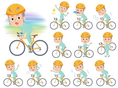 A set of patient old man on a road bike.There is an action that is enjoying.It's vector art so it's easy to edit.
