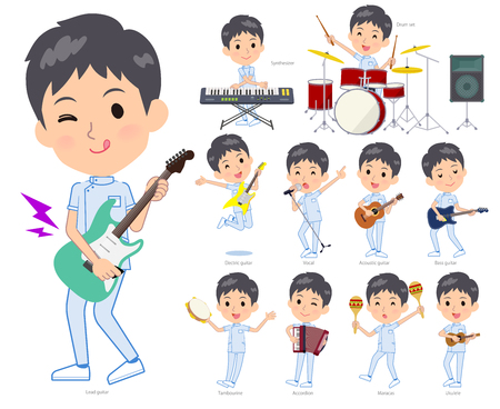 A set of chiropractor man playing rock n roll and pop music.There are also various instruments such as ukulele and tambourine.Its vector art so its easy to edit.