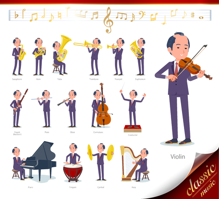 A set of japanese samurai businessman on classical music performances.There are actions to play various instruments such as string instruments and wind instruments.Its vector art so its easy to edit.