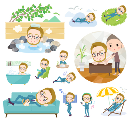 A set of Businessman about relaxing.There are actions such as vacation and stress relief.It's vector art so it's easy to edit. Vettoriali