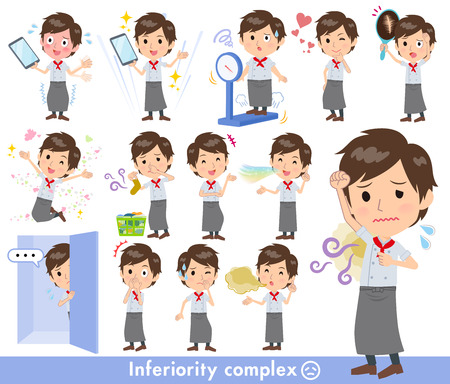 A set of Chef men on inferiority complex.There are actions suffering from smell and appearance.It's vector art so it's easy to edit.