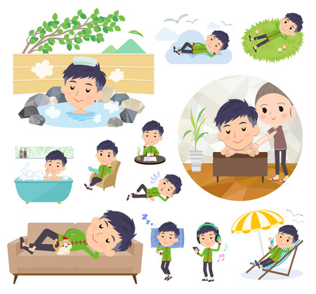 A set of Chinese men about relaxing.There are actions such as vacation and stress relief.It's vector art so it's easy to edit.