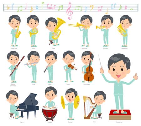 Eine Reihe von geduldigen jungen Männern bei klassischen Musikaufführungen. Es gibt Aktionen zum Spielen verschiedener Instrumente wie Saiteninstrumente und Blasinstrumente. Es handelt sich um Vektorgrafiken, die leicht zu bearbeiten sind.