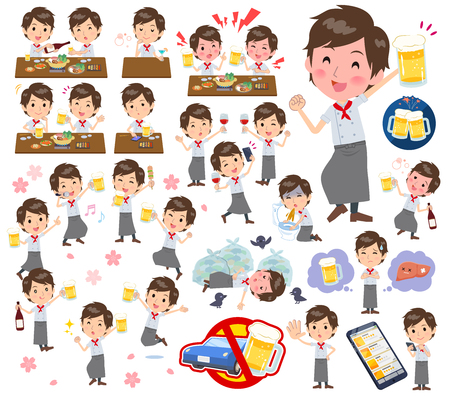 A set of Chef men related to alcohol.There is a lively appearance and action that expresses failure about alcohol.Its vector art so its easy to edit.