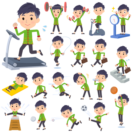 A set of Chinese men on exercise and sports.There are various actions to move the body healthy.Its vector art so its easy to edit.
