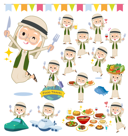 A set of Arabian old men on food events.There are actions that have a fork and a spoon and are having fun.Its vector art so its easy to edit.  イラスト・ベクター素材