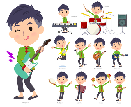 A set of Chinese men playing rock 'n' roll and pop music.There are also various instruments such as ukulele and tambourine.It's vector art so it's easy to edit.