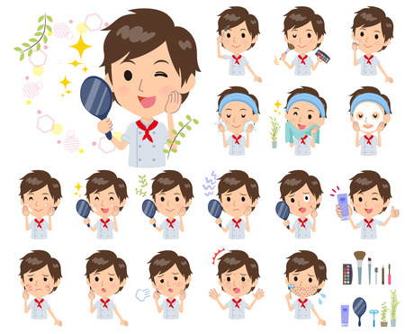 A set of Chef men on beauty.There are various actions such as skin care and makeup.It's vector art so it's easy to edit.