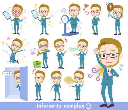 A set of Businessman on inferiority complex.There are actions suffering from smell and appearance.Its vector art so its easy to edit.