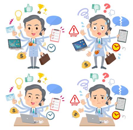 Eine Reihe von Ärzten, die im Büro Multitasking ausführen. Es gibt Dinge, die reibungslos erledigt werden müssen, und ein Muster, das in Panik gerät. Es handelt sich um Vektorgrafiken, die leicht zu bearbeiten sind.