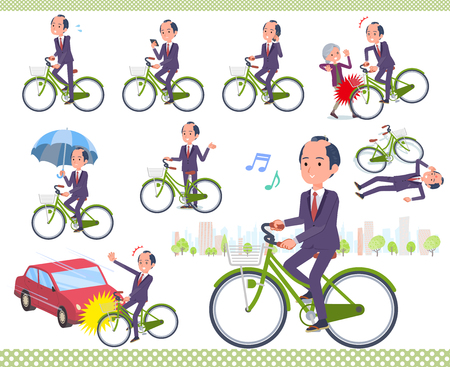 A set of japanese samurai businessman riding a city cycle.There are actions on manners and troubles.It's vector art so it's easy to edit.
