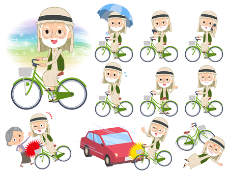 A set of Arabian old men riding a city cycle.There are actions on manners and troubles.Its vector art so its easy to edit.  イラスト・ベクター素材