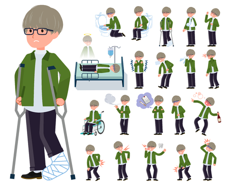 A set of businessman with injury and illness.There are actions that express dependence and death.It's vector art so it's easy to edit.