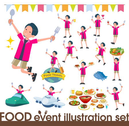 A set of young man on food events.There are actions that have a fork and a spoon and are having fun.It's vector art so it's easy to edit.