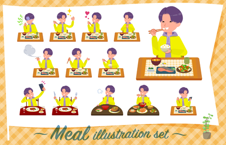 A set of young man about meals.Japanese and Chinese cuisine, Western style dishes and so on.Its vector art so its easy to edit.