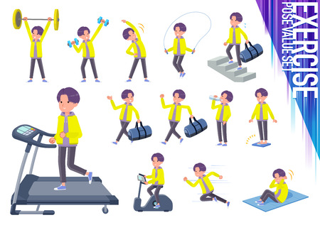 A set of young man on exercise and sports.There are various actions to move the body healthy.Its vector art so its easy to edit.