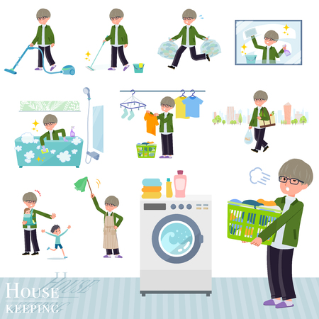 A set of businessman related to housekeeping such as cleaning and laundry.There are various actions such as child rearing.Its vector art so its easy to edit.