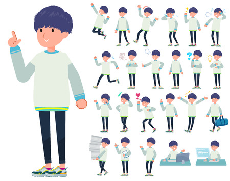 A set of young man with who express various emotions.There are actions related to workplaces and personal computers.It's vector art so it's easy to edit. Banque d'images - 119989947