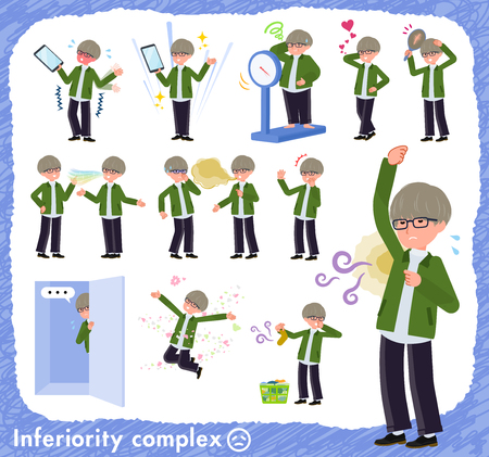 A set of businessman on inferiority complex.There are actions suffering from smell and appearance.It's vector art so it's easy to edit.