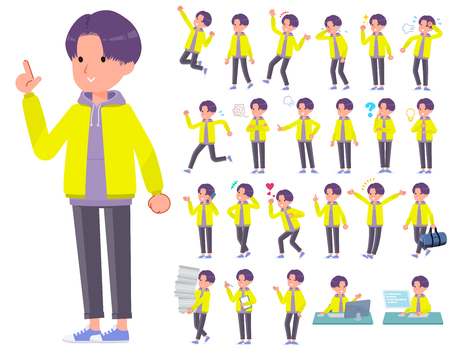 A set of young man with who express various emotions.There are actions related to workplaces and personal computers.Its vector art so its easy to edit. Illustration