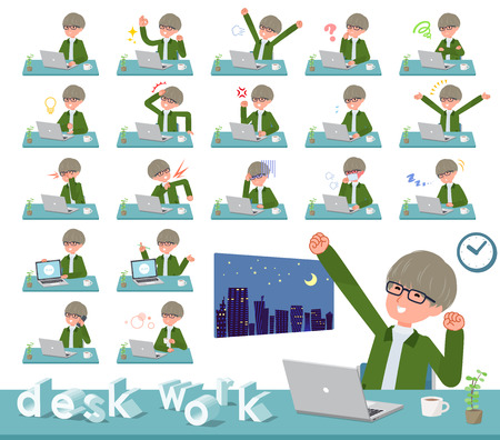 A set of businessman on desk work.There are various actions such as feelings and fatigue.Its vector art so its easy to edit.