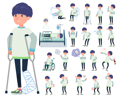 A set of young man with injury and illness.There are actions that express dependence and death.It's vector art so it's easy to edit.