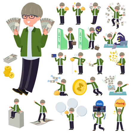 A set of businessman with concerning money and economy.There are also actions on success and failure.It's vector art so it's easy to edit.