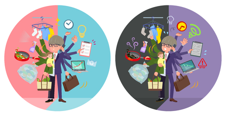 A set of businessman who perform multitasking in offices and private.There are things to do smoothly and a pattern that is in a panic.It's vector art so it's easy to edit.